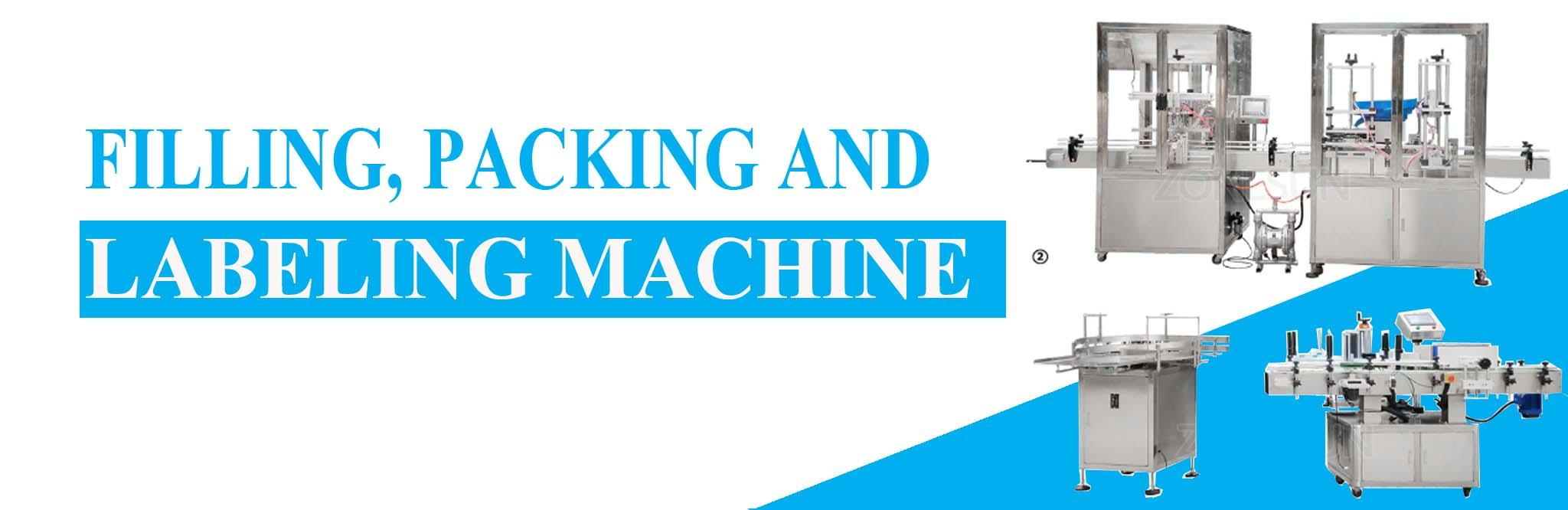 Filling, capping, packing, labeling machine