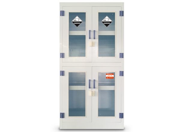 PP Chemical Storage Cabinet, 4 Glass Door, 45Gal/170L