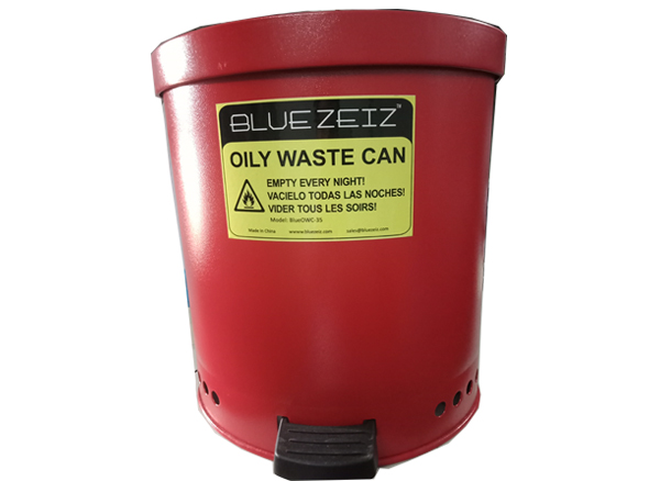 Oily Waste Can With Foot Operated Cover, 9.2Gal/35Liters